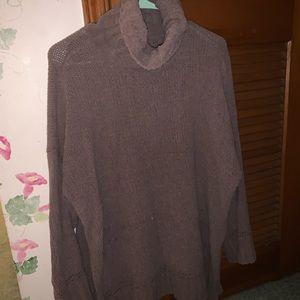 Aerie turtleneck sweater brown cream tan M Fall